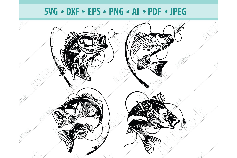 Download Bass Fishing Svg Fishing Svg Fishing Hooks Png Dxf Eps 413157 Svgs Design Bundles