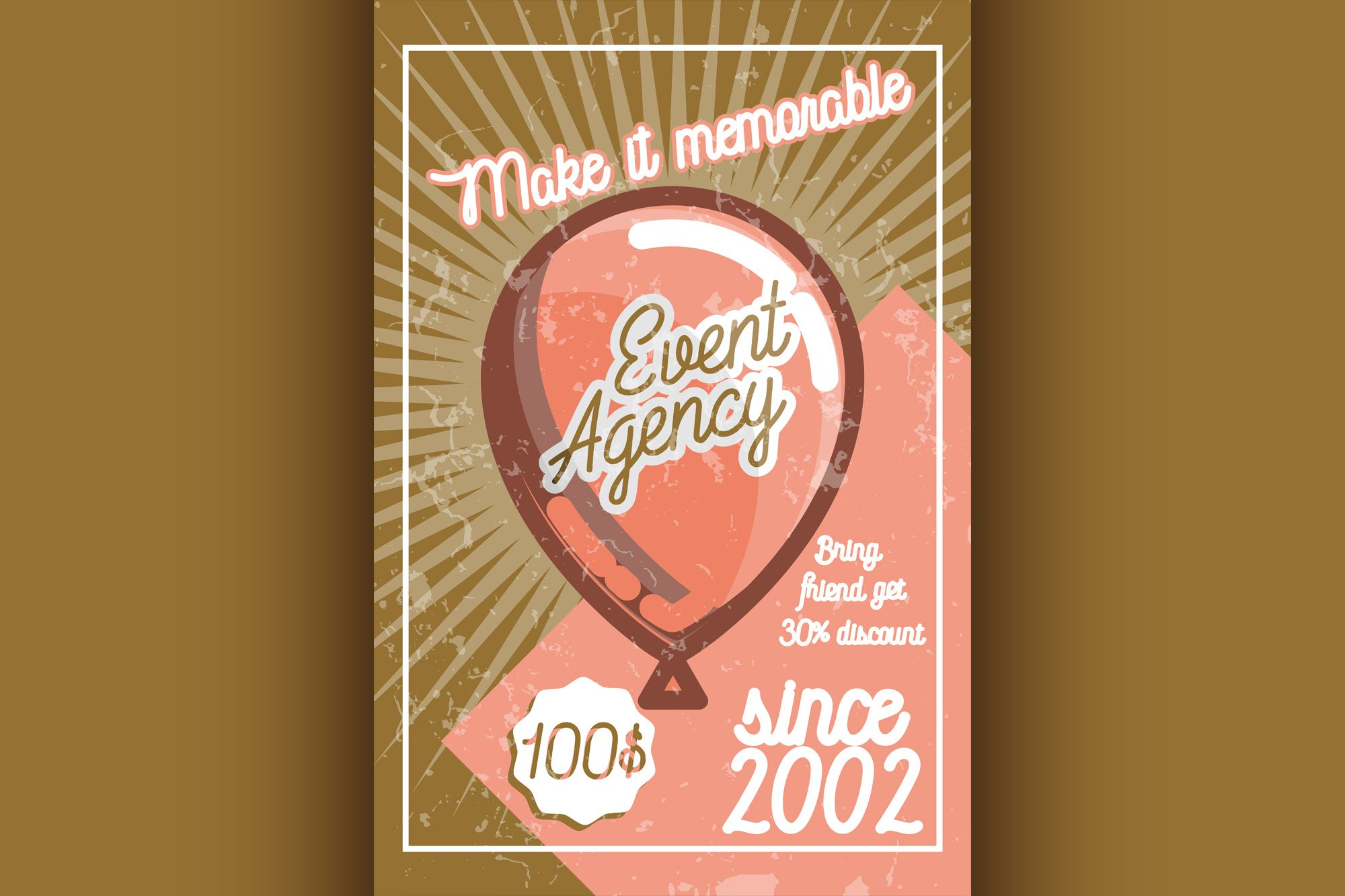 Color vintage event agency banner example image 1