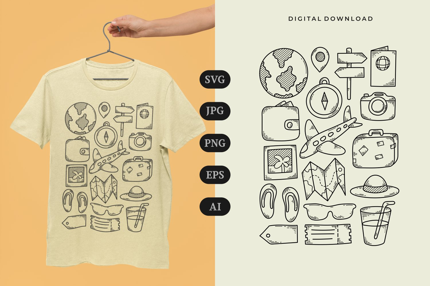 Traveling Doodle T-shirt | SVG example image 1