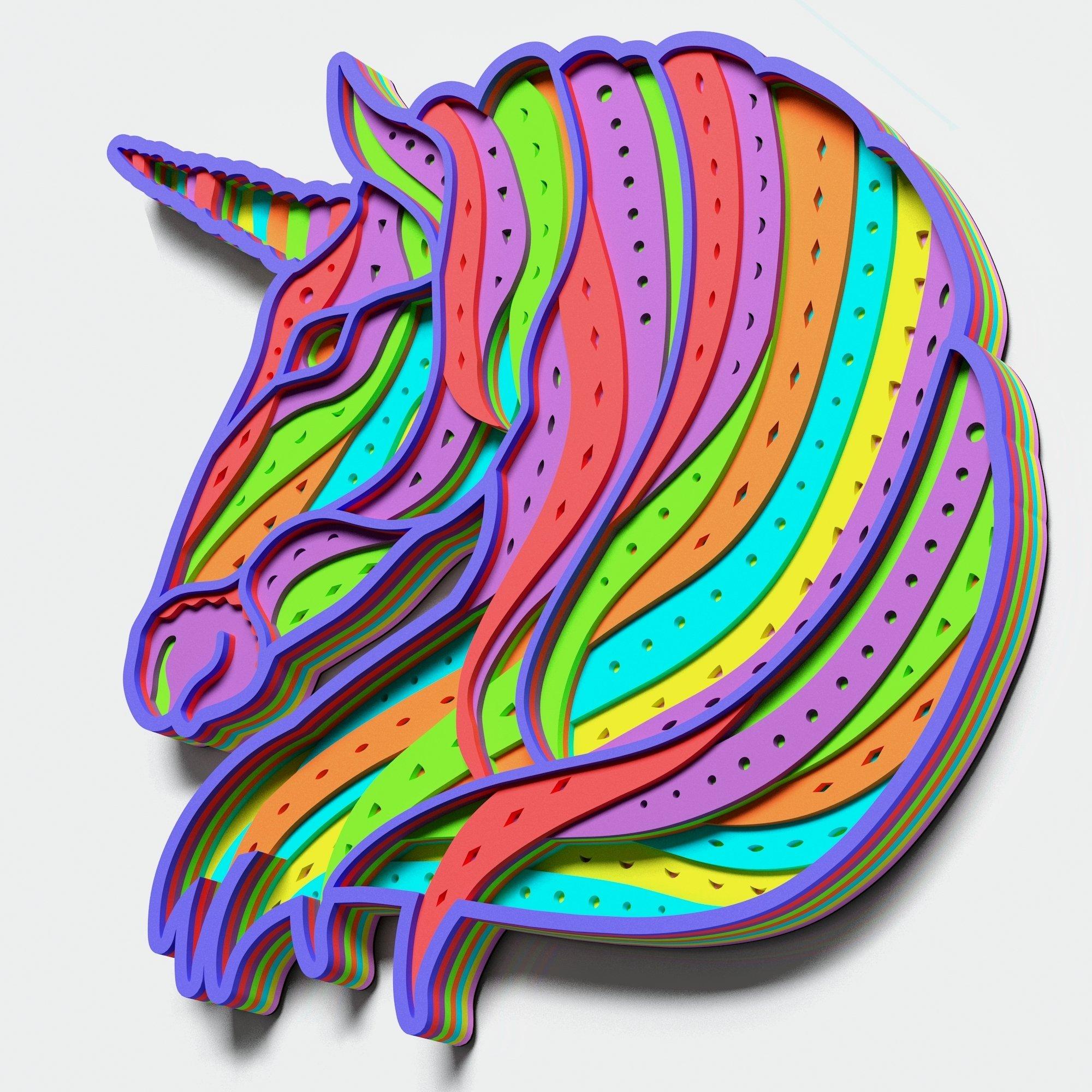 Multilayer Unicorn Mandala, Vector file for cutting example image 7