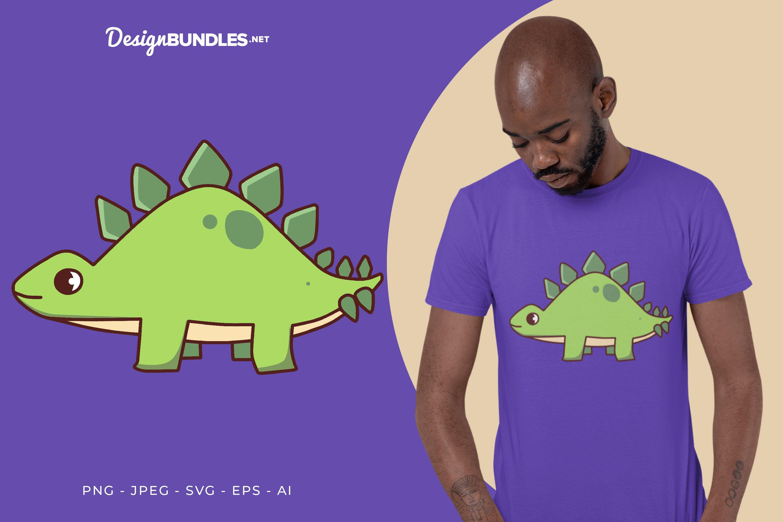 Walking Green Stegosaurus Vector Illustration For T-Shirt example image 1