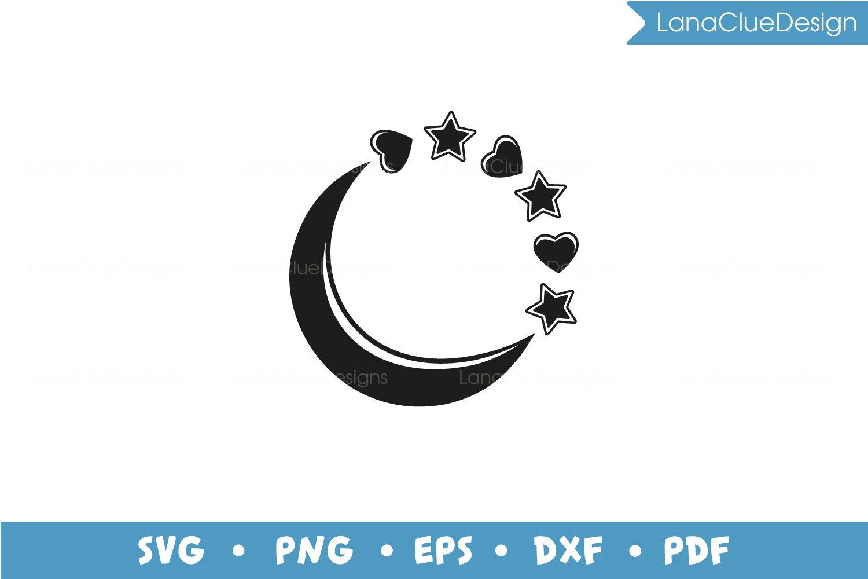5 Star Circle Frames SVG Bundle, Half Moon with Hearts example image 4