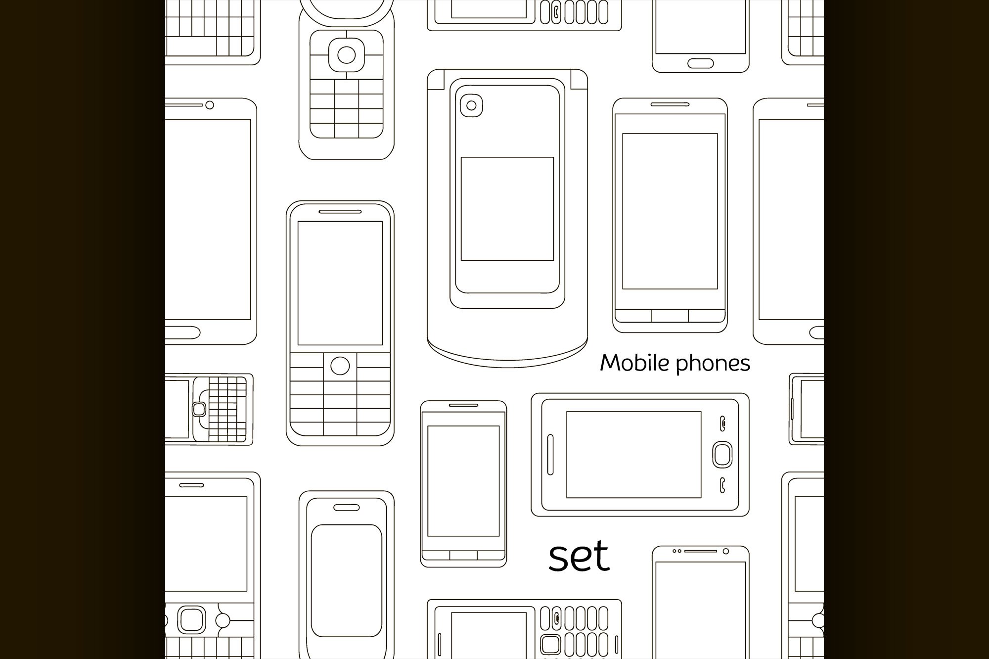 Mobile phones set pattern example image 1