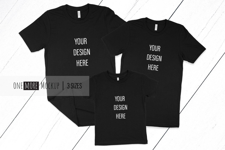 Family Tshirts Mockup | Bella Canvas 3001, 3001T | Black example image 1