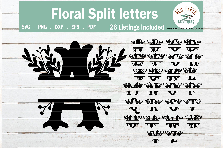 Floral Split Monogram Frame Letters Alphabet Svg Png Eps Dxf 557752 Cut Files Design Bundles