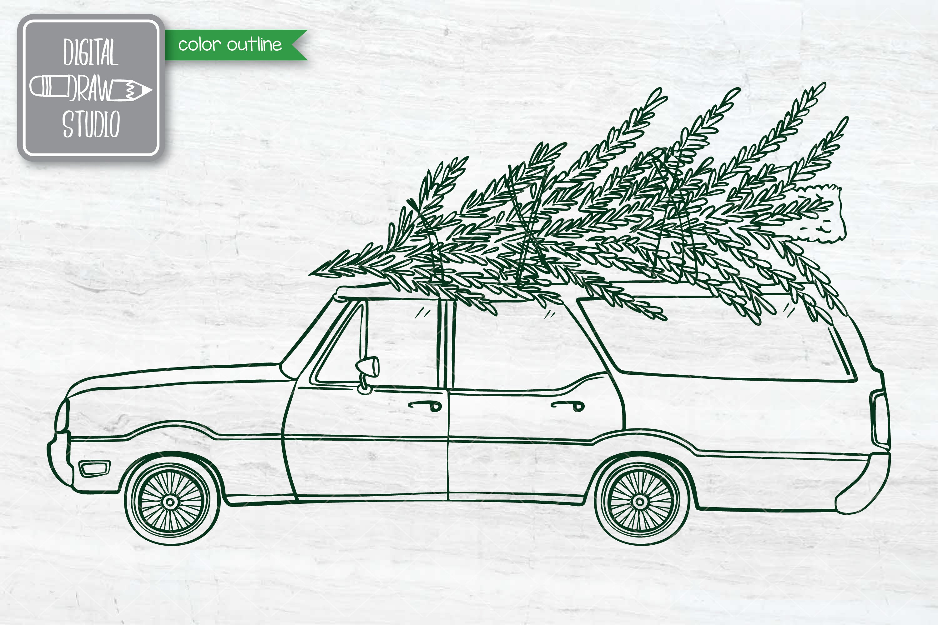 Color Station Wagon Car Christmas | Tree on Roof Top Holiday example image 8