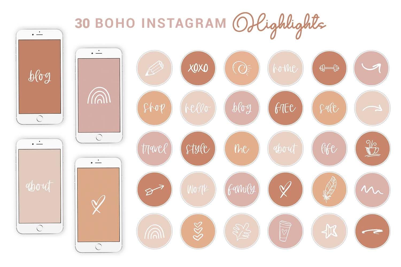 Boho Instagram Highlights Text Shape Story Cover Icons 599515 Instagram Design Bundles