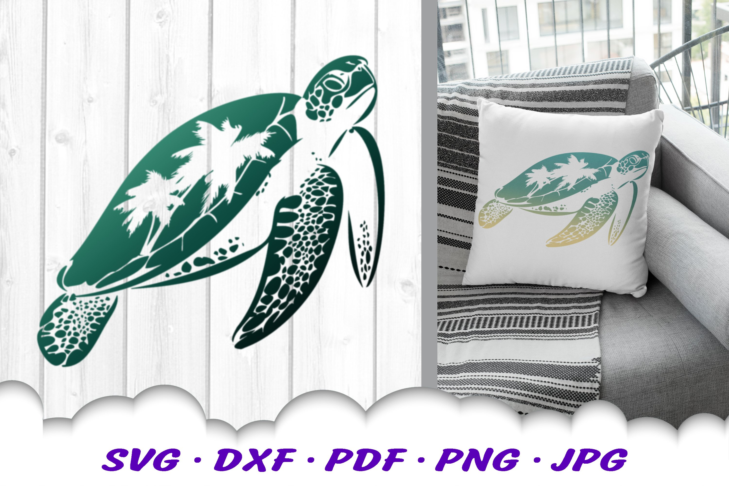 Sea Turtle Palm Tree SVG DXF Cut Files example image 3