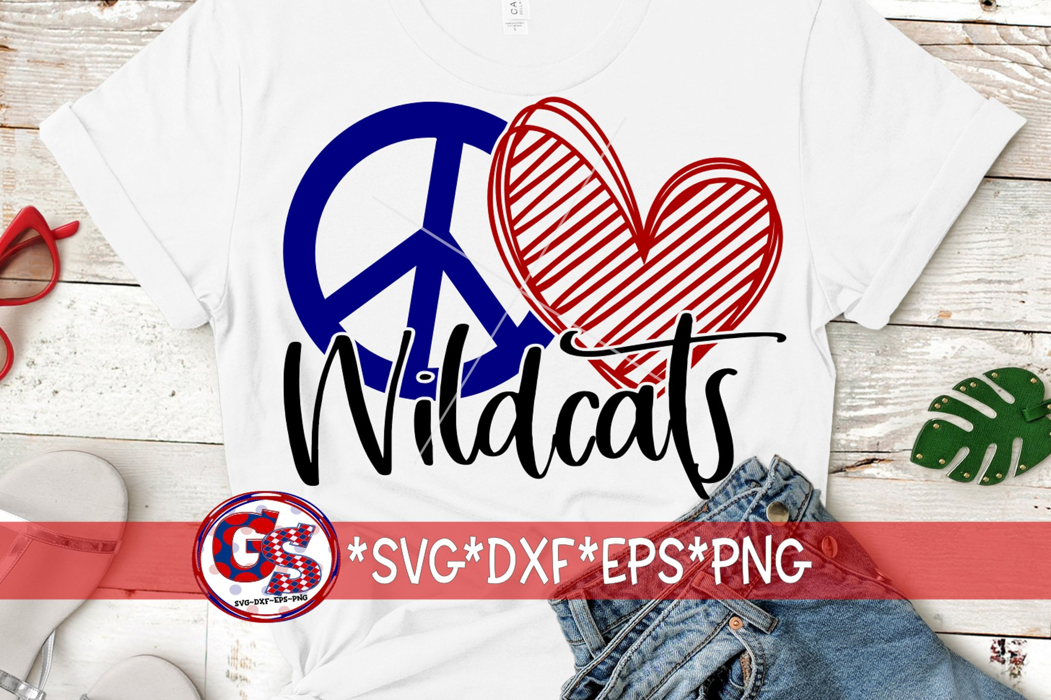 Peace Love Wildcats SVG DXF EPS PNG example image 1