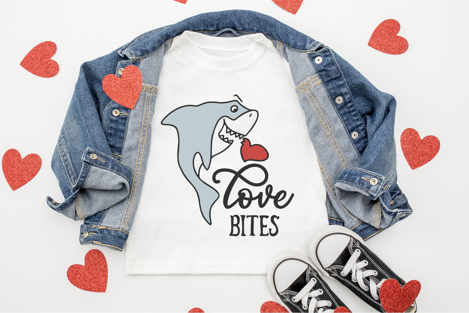 Cute Shark SVG | Love Bites SVG Cut File example image 2