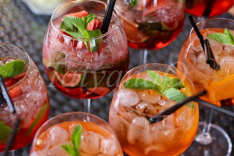 "Alcoholic cocktail ""aperol spritz"". Italian aperitif example image 1"