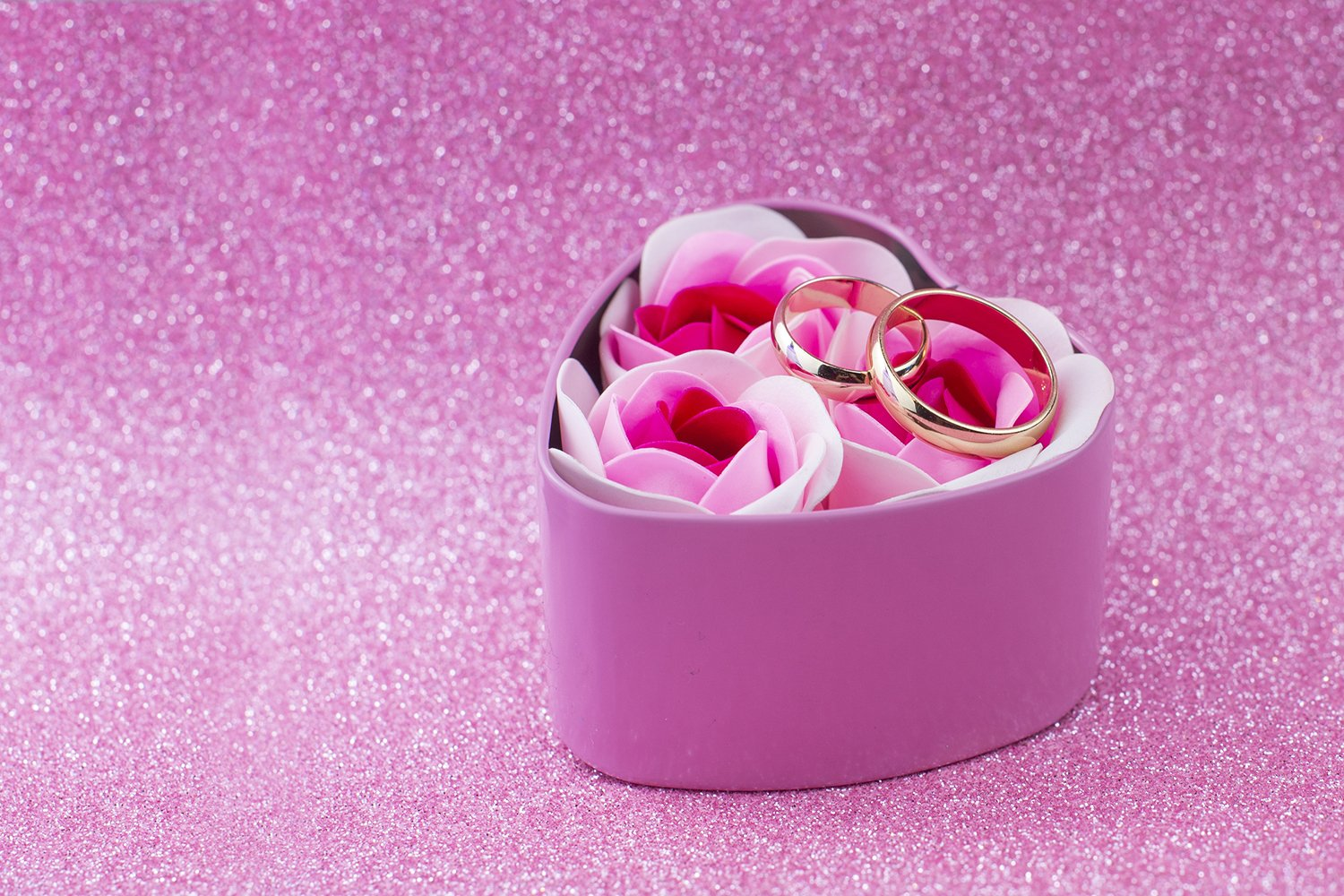 box surprise gift pink hearts with gold wedding rings example image 1