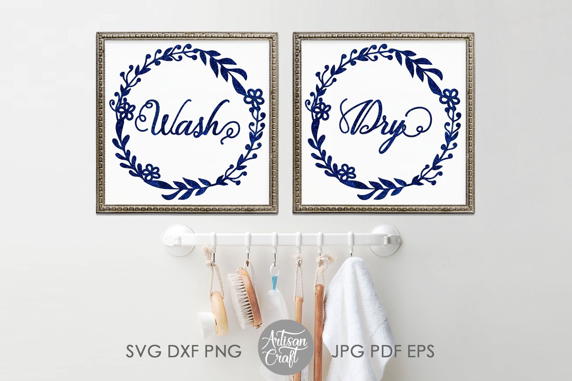 Wash dry svg, washer dryer decals, floral wreath png example image 3