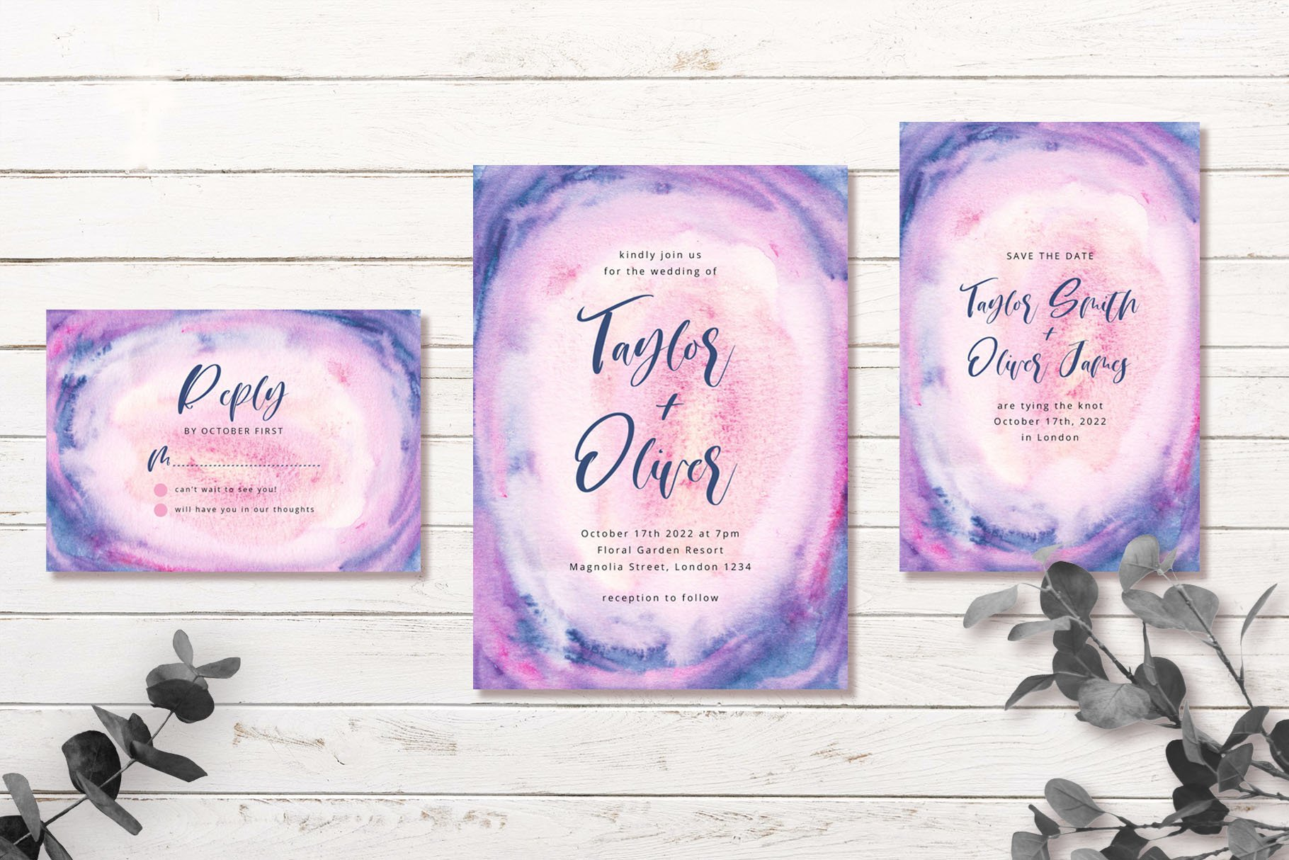 Blue Pink Abstract Background Wedding Invitation Set example image 3