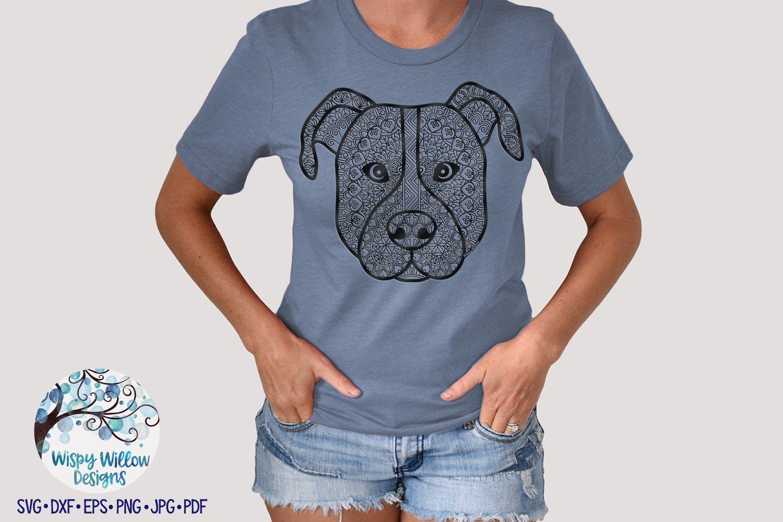 Zentangle Pitbull SVG | Dog Mandala SVG Cut File example image 2