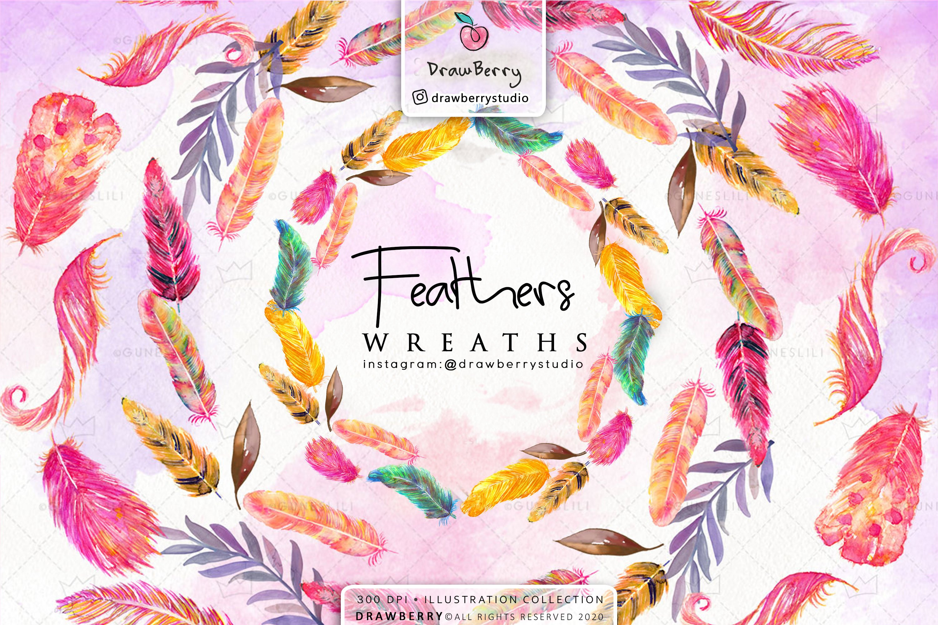 Watercolor Feather Wreath Clipart Pack example image 1