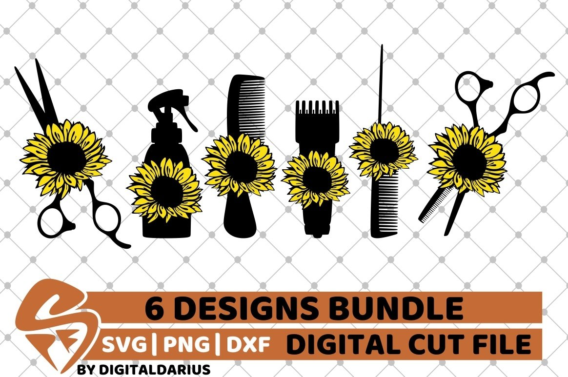 6x Hairdresser Designs Bundle svg, Sunflower, Hairstylist example image 1
