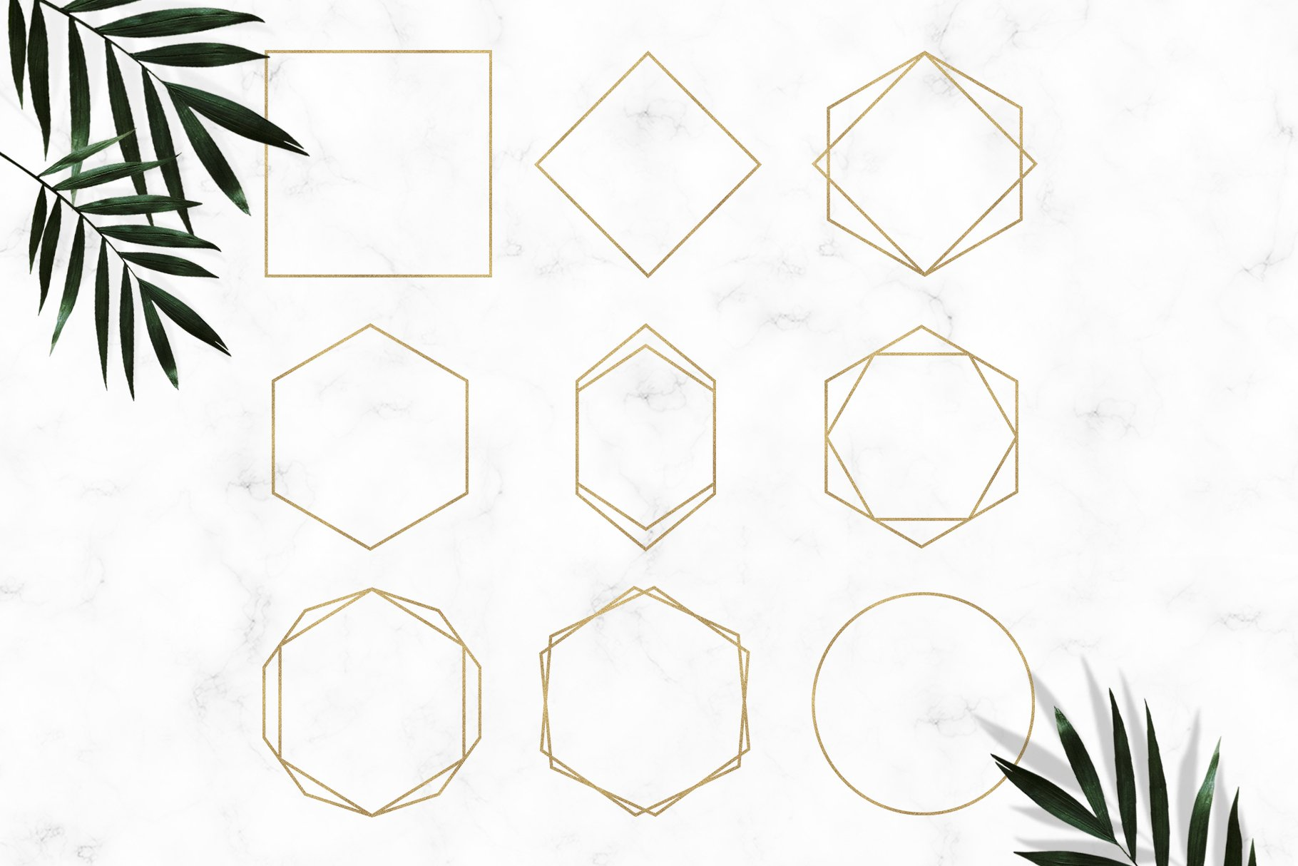 Gold Geometric Frames Clipart example image 2