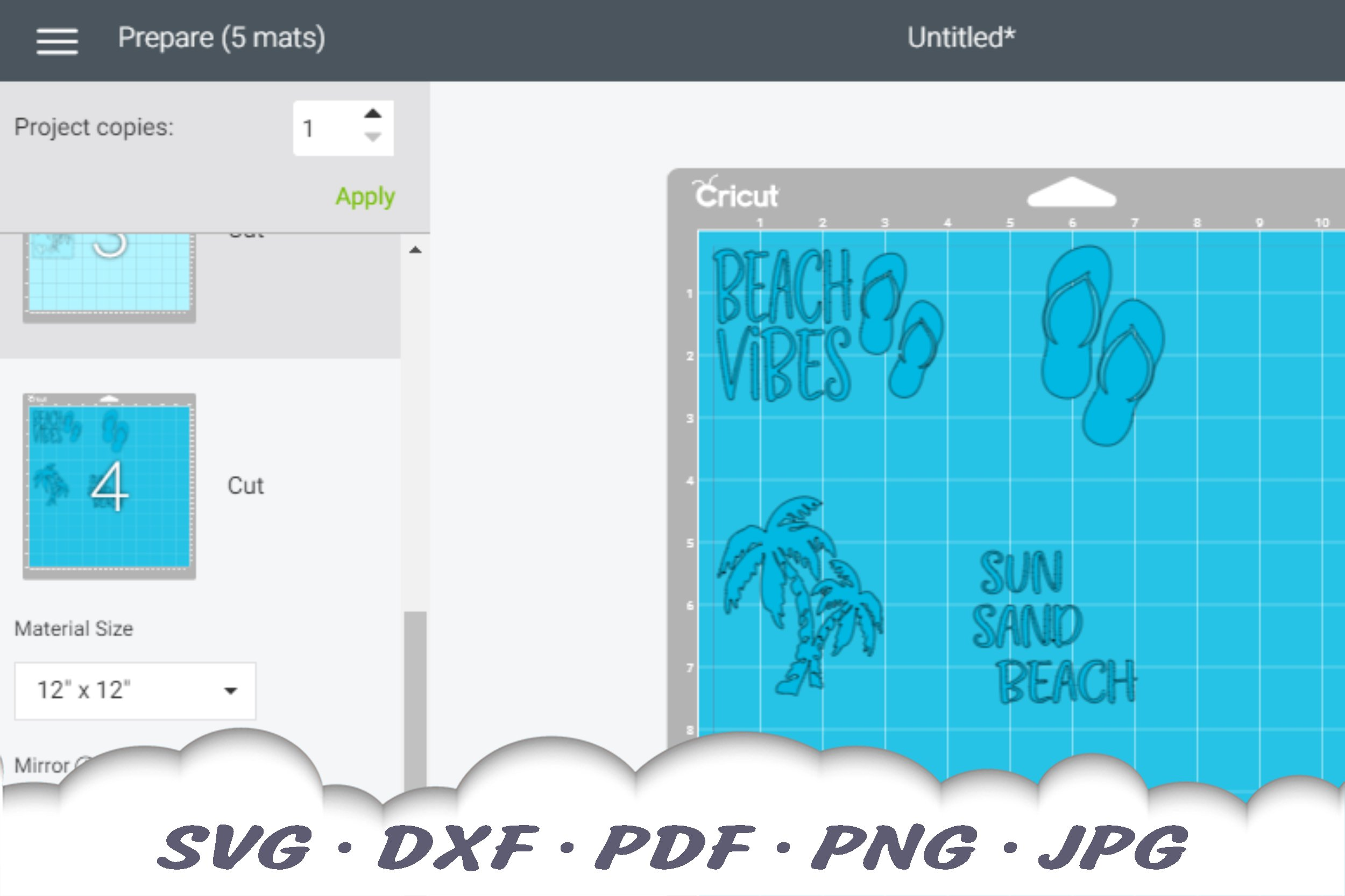 Beach Vibes Stamps SVG Bundle | Beach DXF Cut Files example image 2