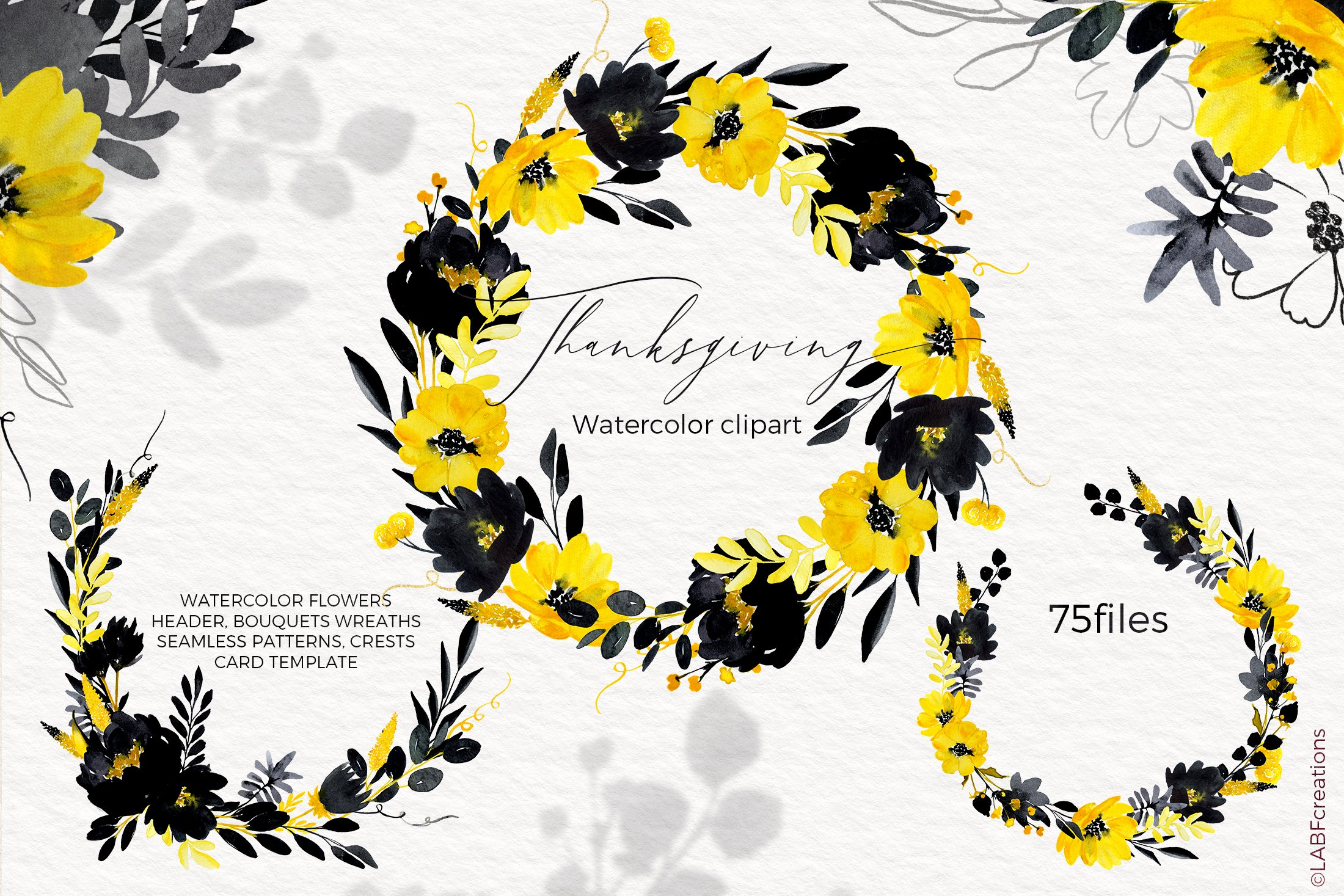 Thanksgiving. Black & Yellow Watercolor flowers example image 6