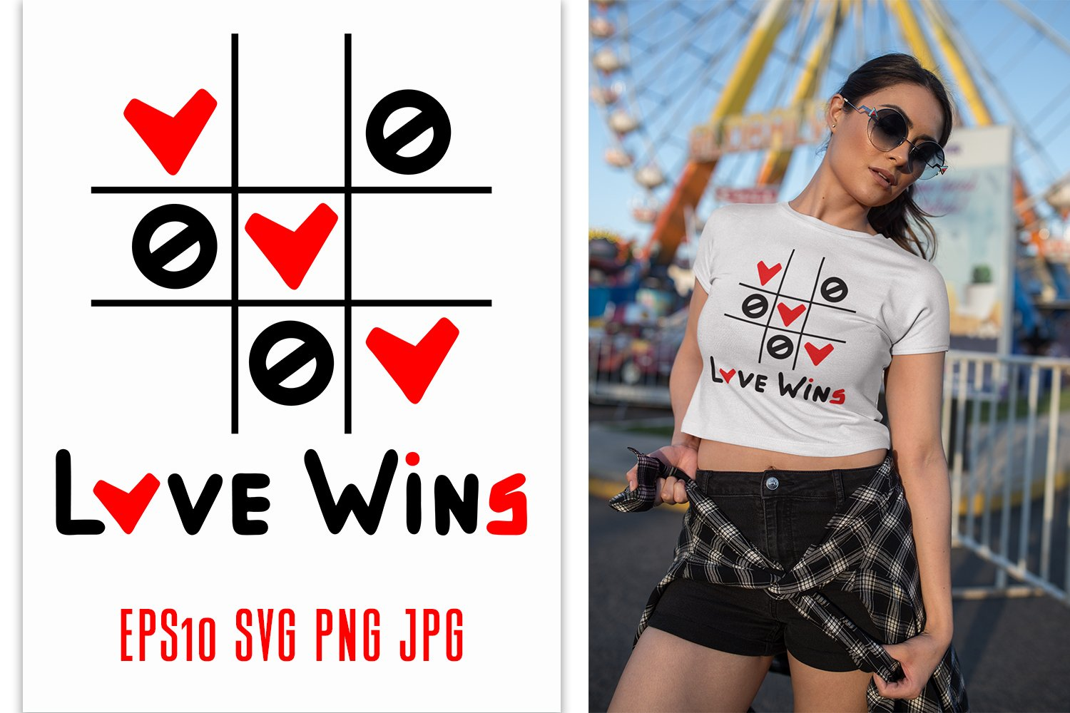 Love Wins SVG quote with tic tac toe game example image 1