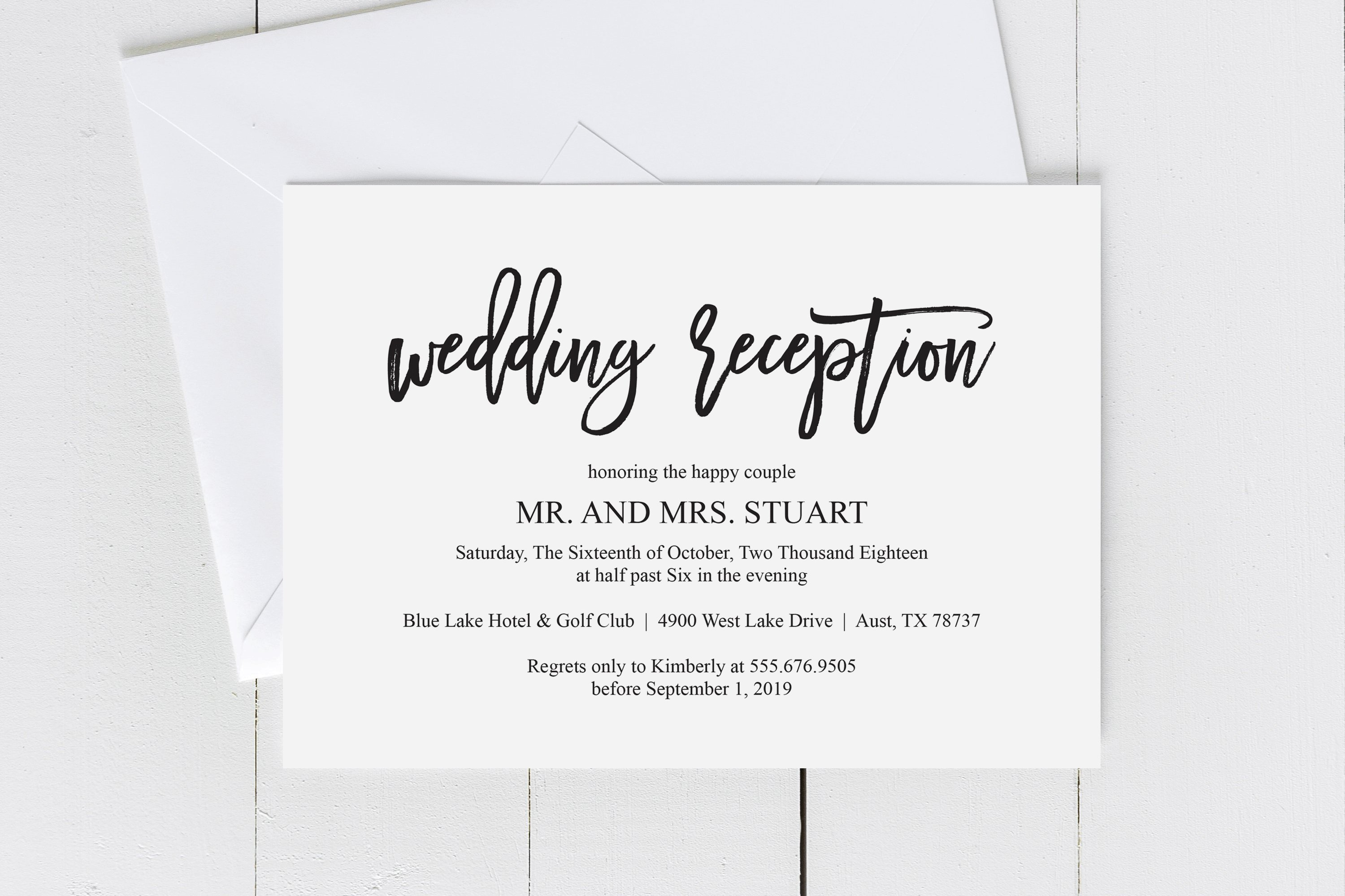 Wedding Reception Invitation card PDF editable template (358494) | Card and  Invites | Design Bundles