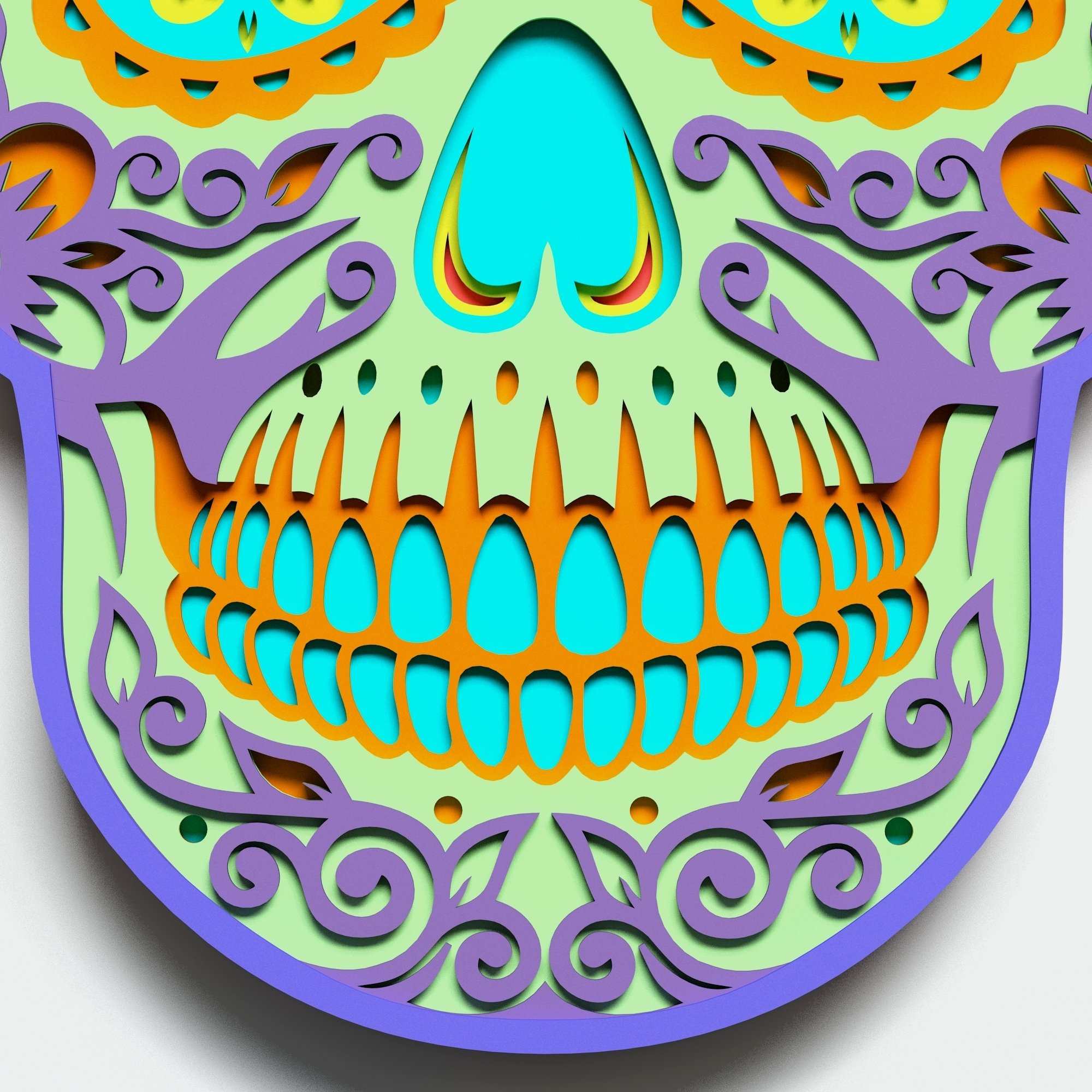 Multilayer Sugar Skull Mandala - S1, for cutting machines example image 3