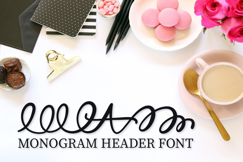 Monogram Header Font - A-Z Letters example image 2