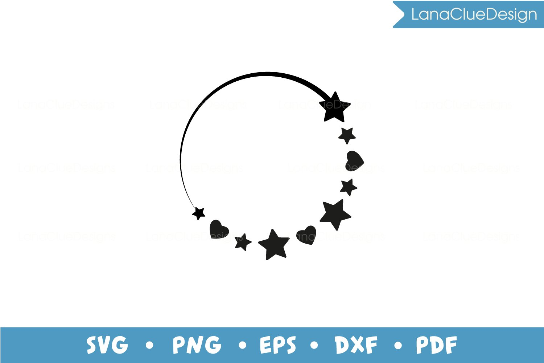 5 Star Circle Frames SVG Bundle, Half Moon with Hearts example image 6