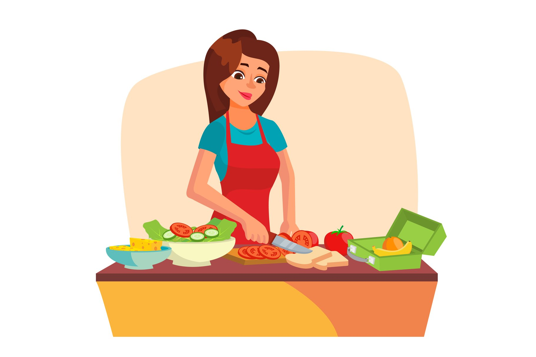 Lunch Box Vector. Making A Healthy School Lunch For Kids. example image 1