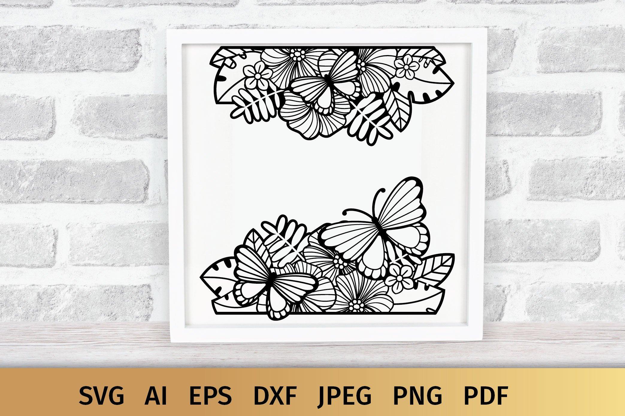 Split Monogram SVG | Floral SVG | Butterfly SVG | Summer SVG example image 7