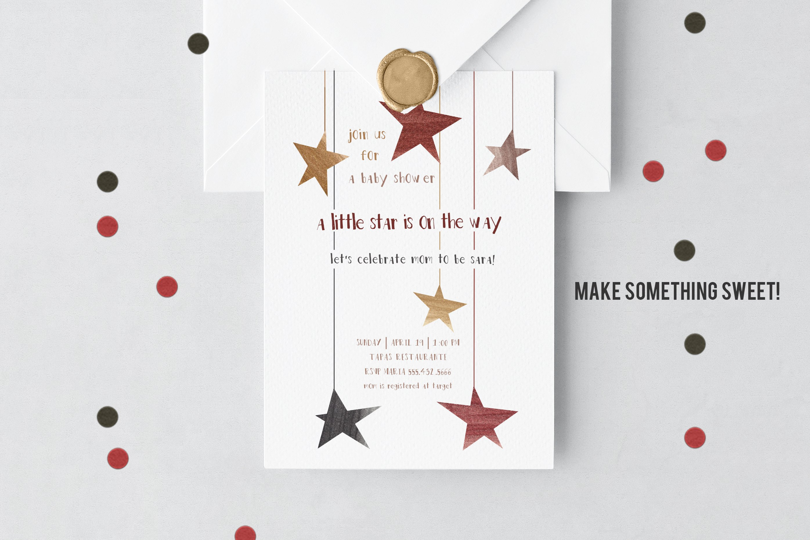 Boho Stars Watercolor Clip Art Neutral Colors Boy Girl example image 2