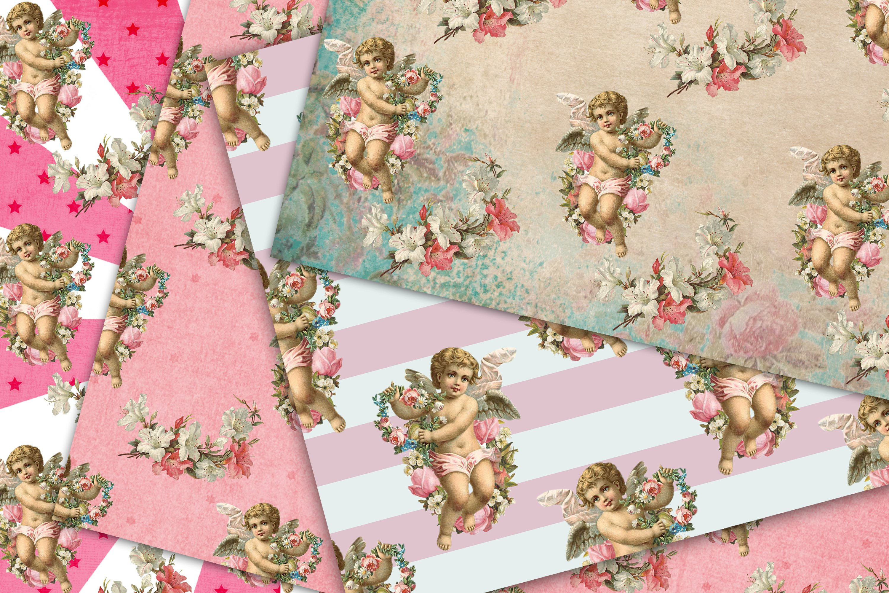 Cherub Angel, Seamless Paper Pack, Digital Background example image 3