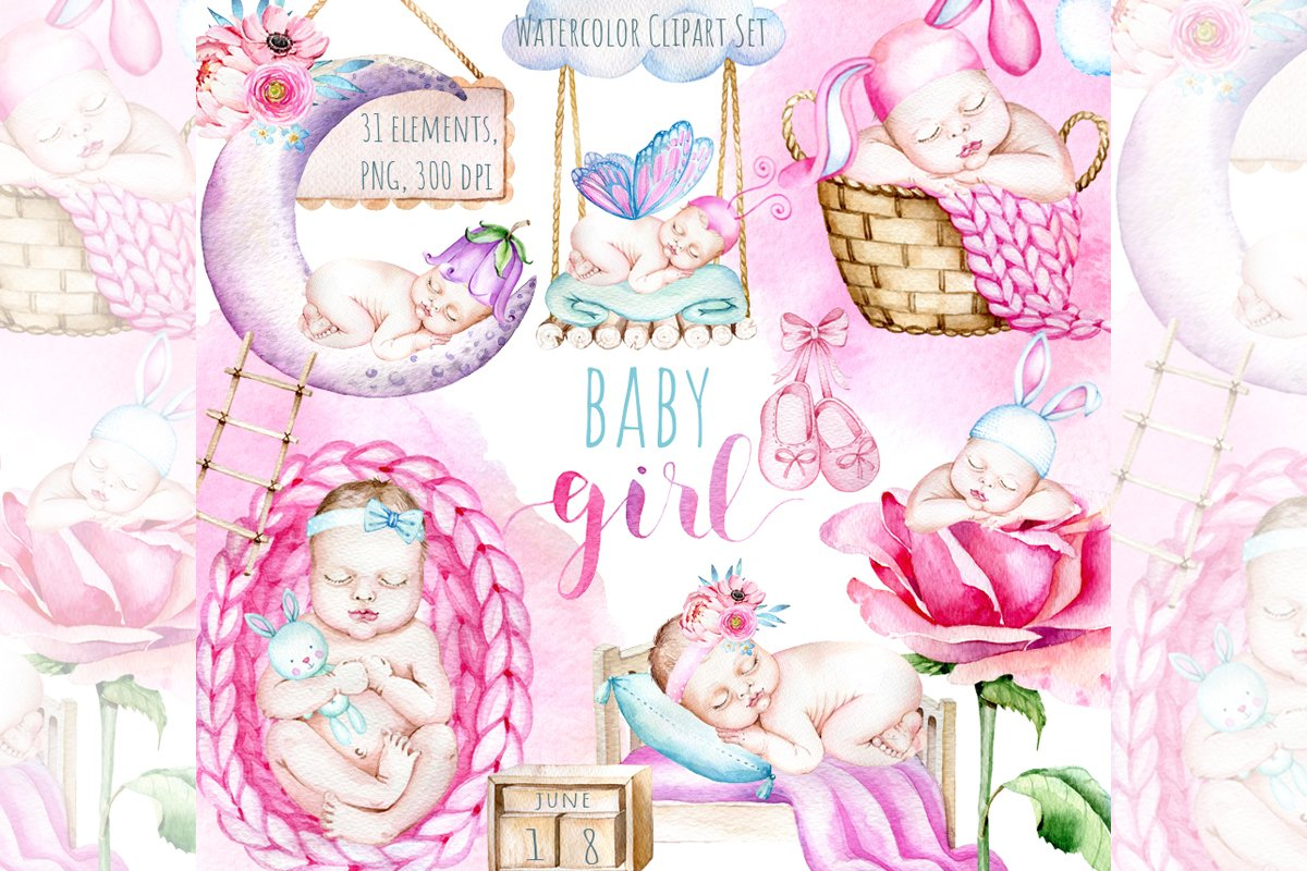 Newborn Baby Girl Clipart Baby Shower Clipart Cute Baby Girl 813380 Illustrations Design Bundles