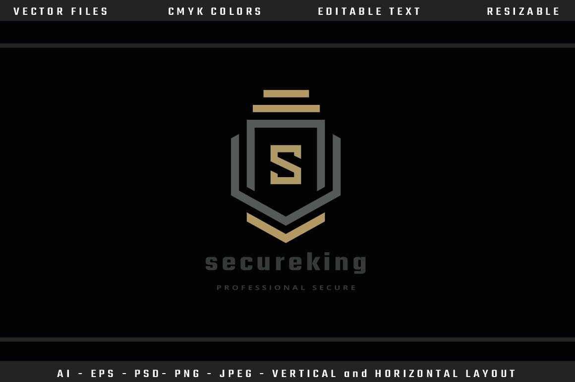 Secure King Letter S Logo example image 2