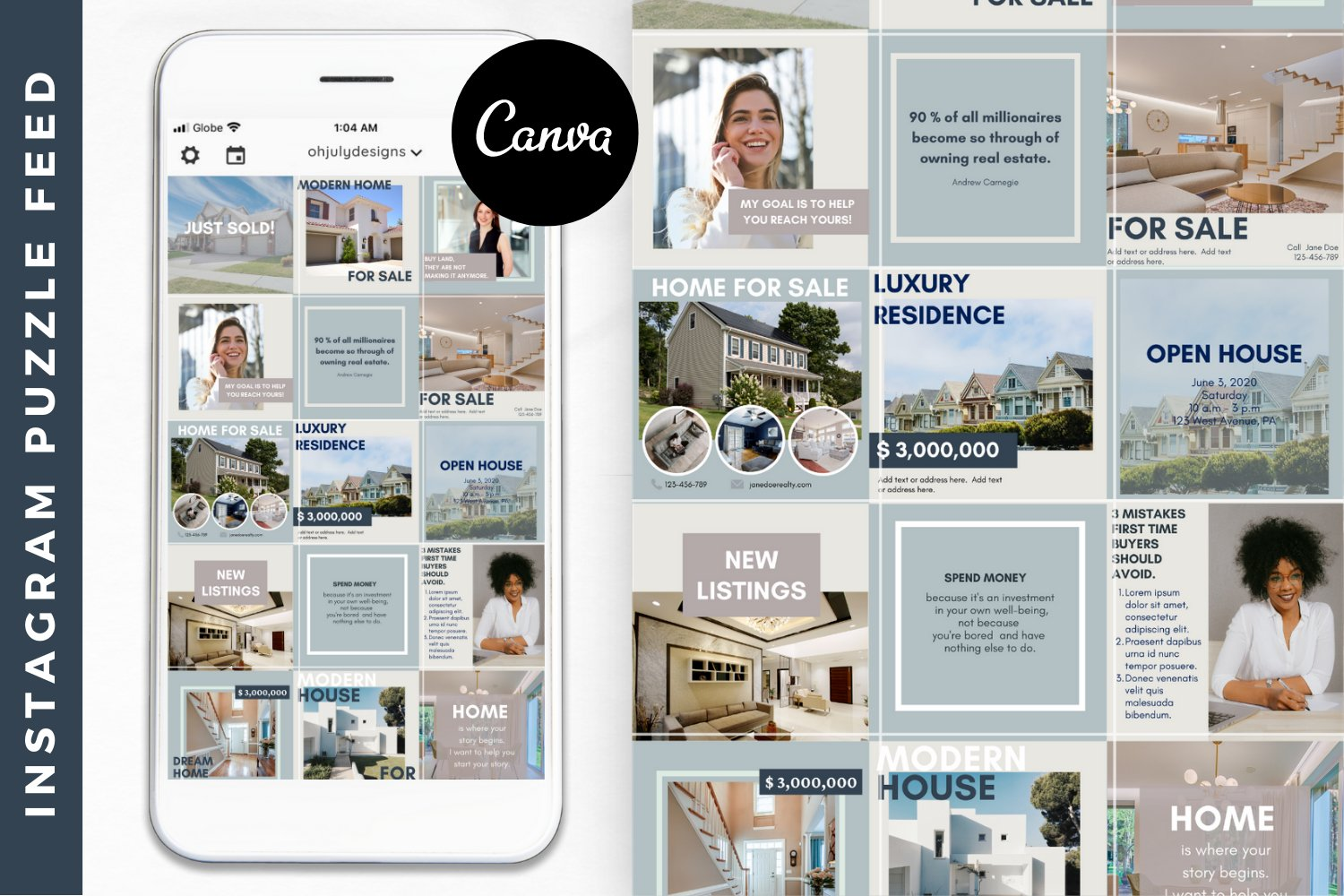 Real Estate Instagram Templates Instagram Puzzle Feed Canva 754683 Instagram Design Bundles