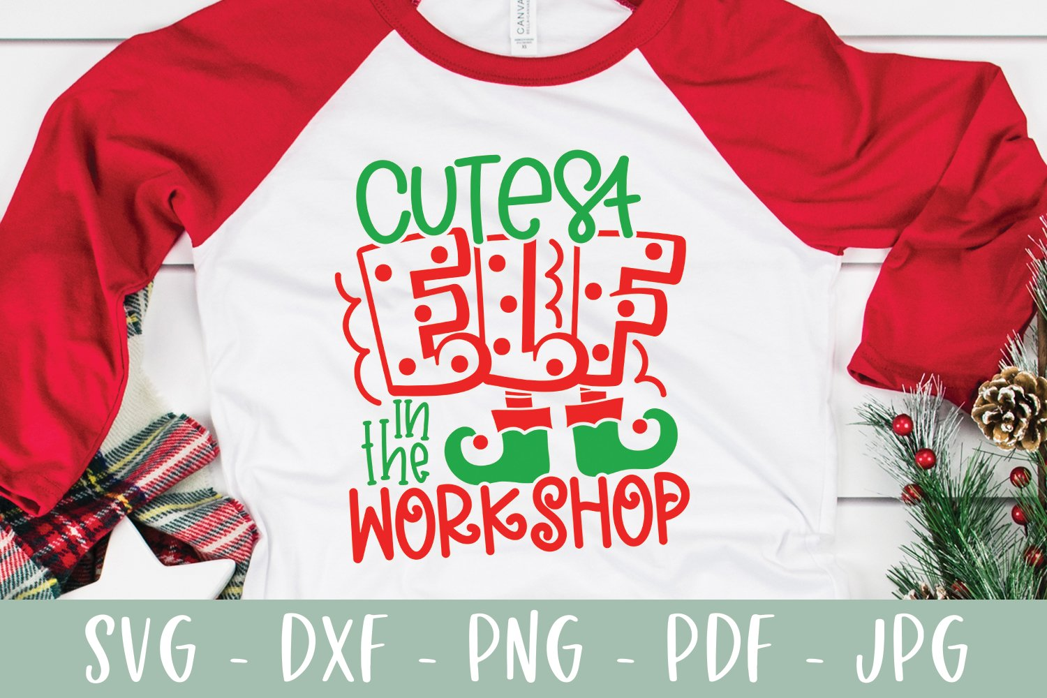 Cutest Elf In The Workshop - Funny Kid Christmas SVG example image 3