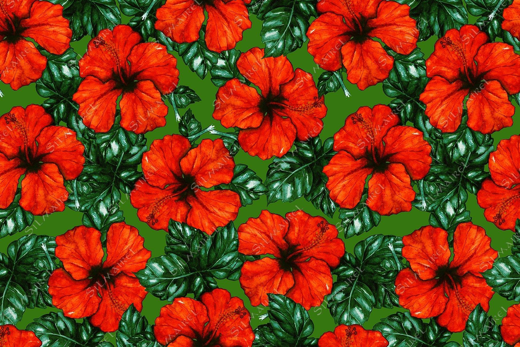 Watercolor red hibiscus karkade flower seamless pattern example image 1