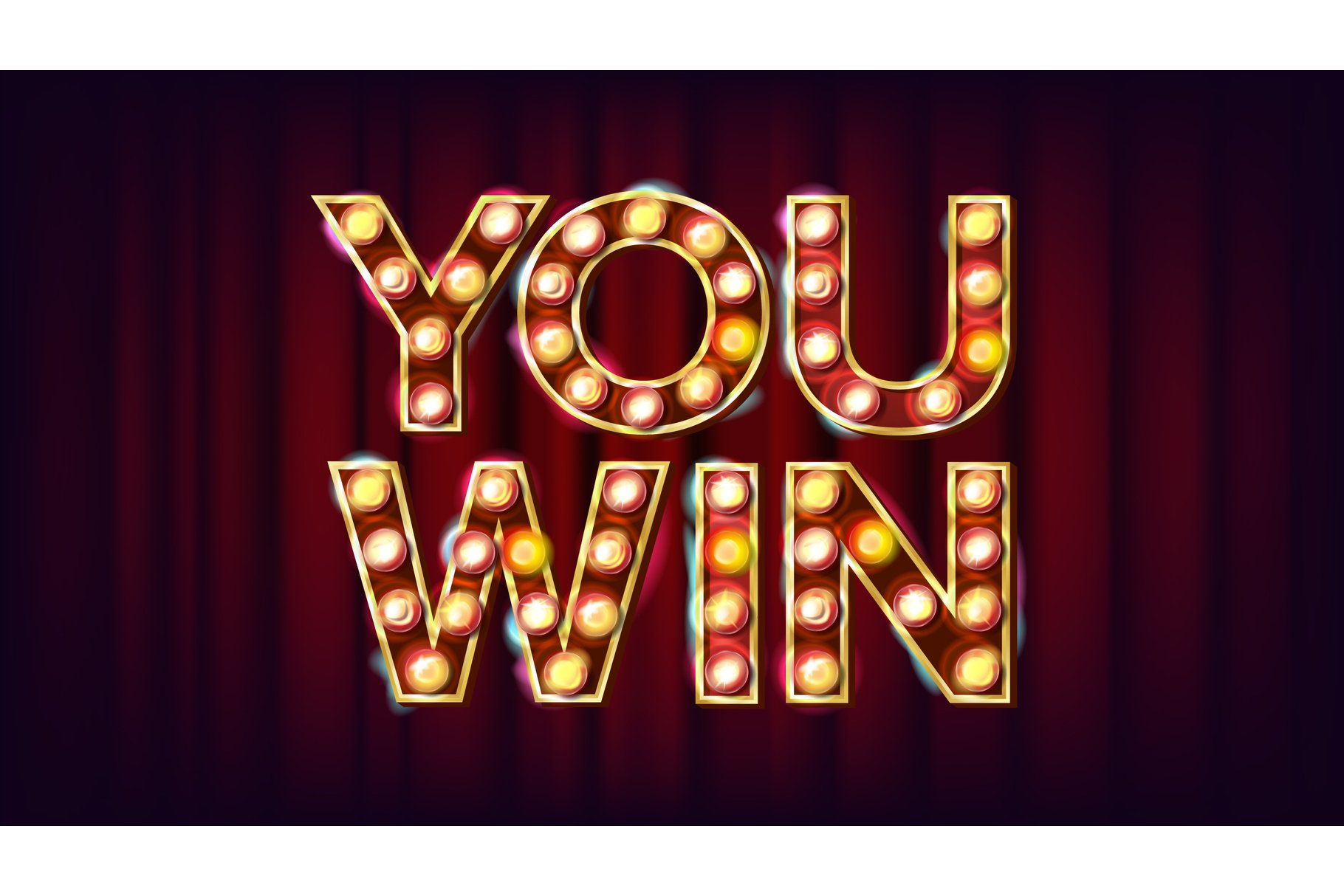 You Win Banner Vector. Casino Vintage Golden Illuminated example image 1