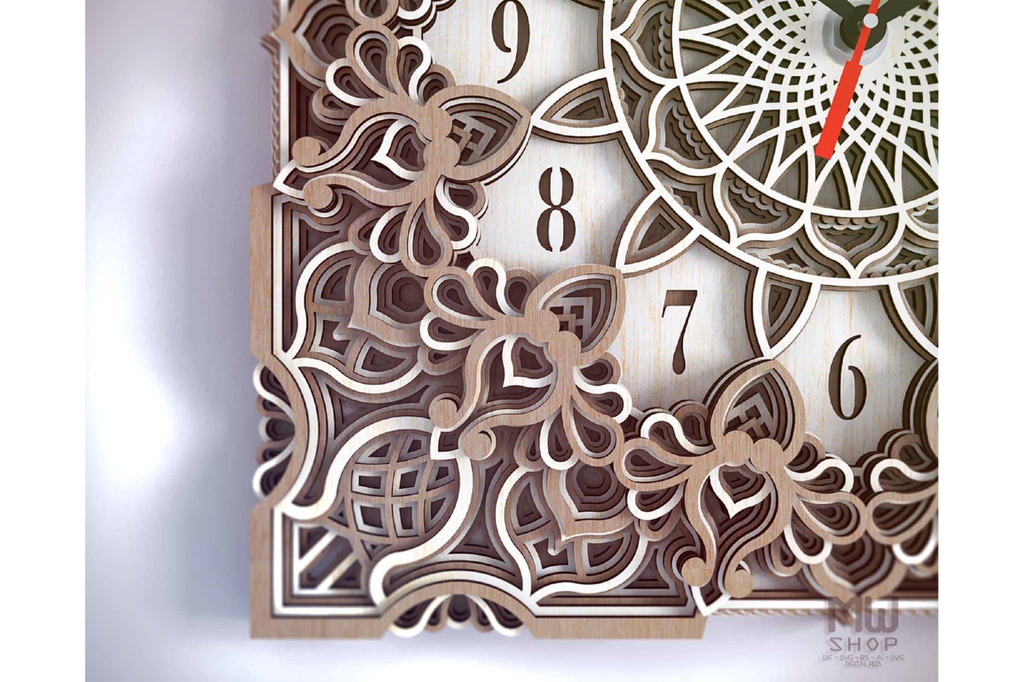 C13 - Mandala Clock DXF for Laser cut, Sacred Clock SVG example image 6
