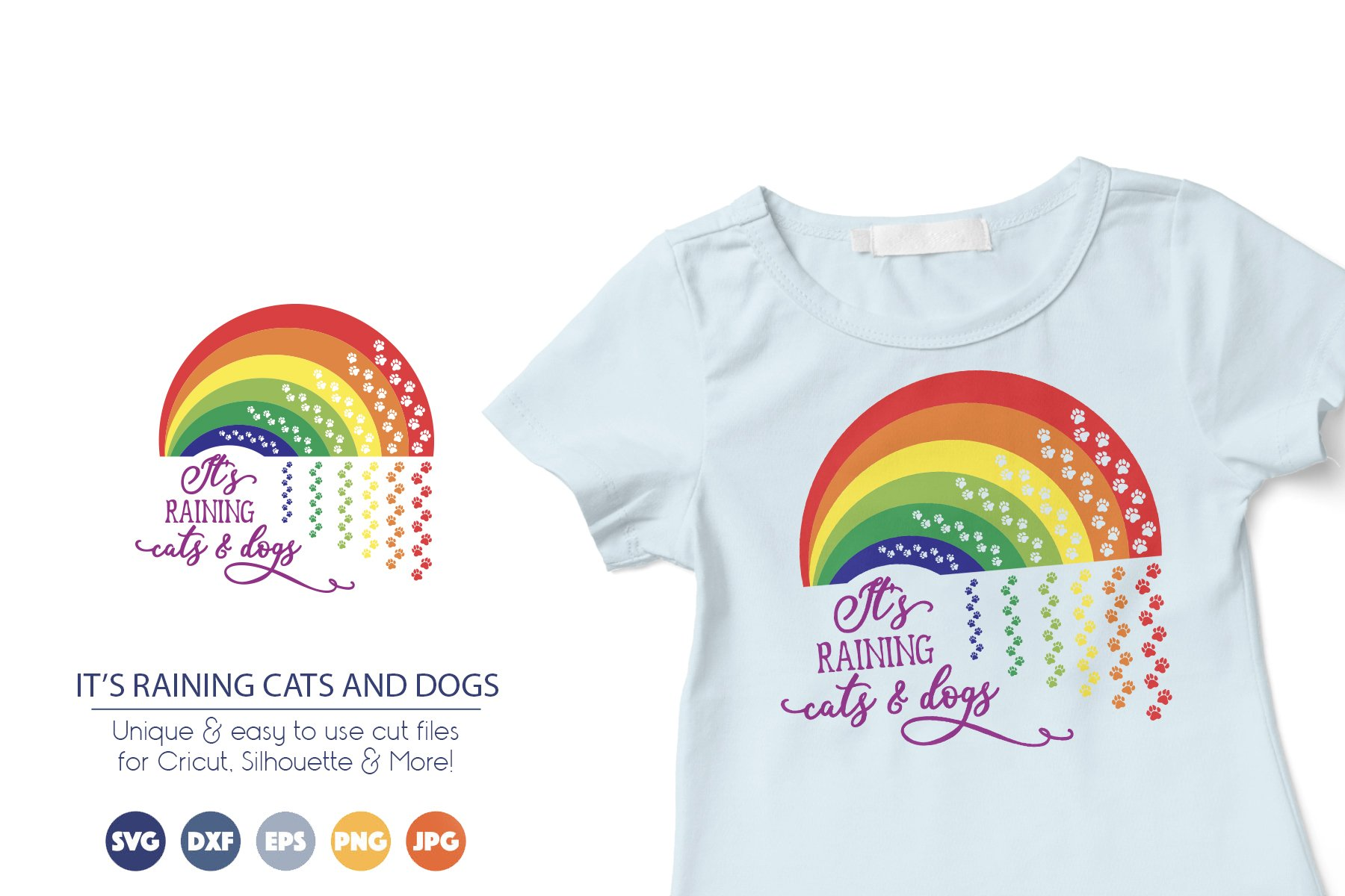 Rainbow SVG Cut Files | It's Raining Cats and Dogs example image 1