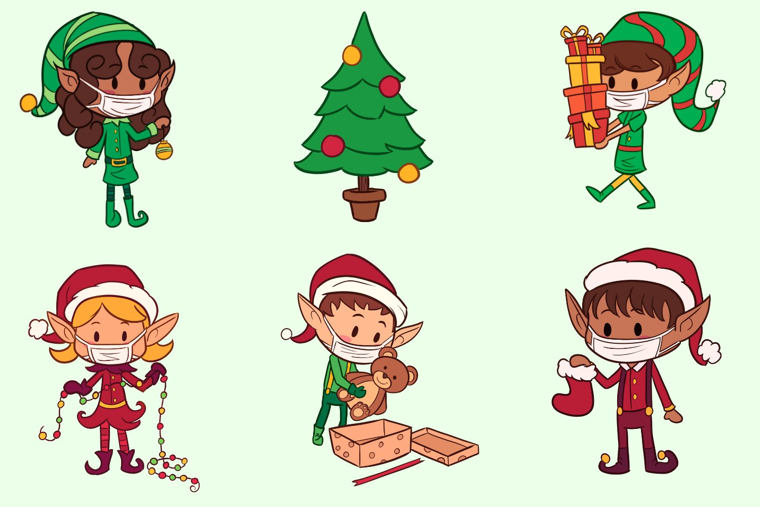 Christmas Elves In Masks example image 2