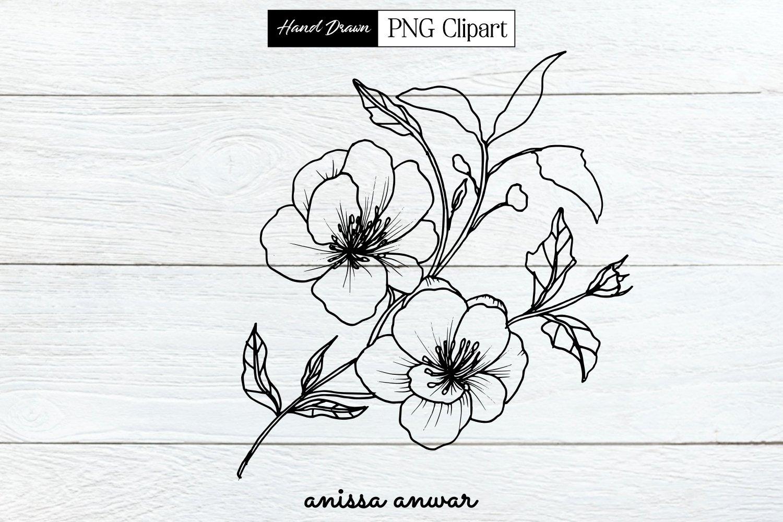 Flowers Bouquet Line Art Png Clipart Sublimation Printable 342885 Sublimation Design Bundles