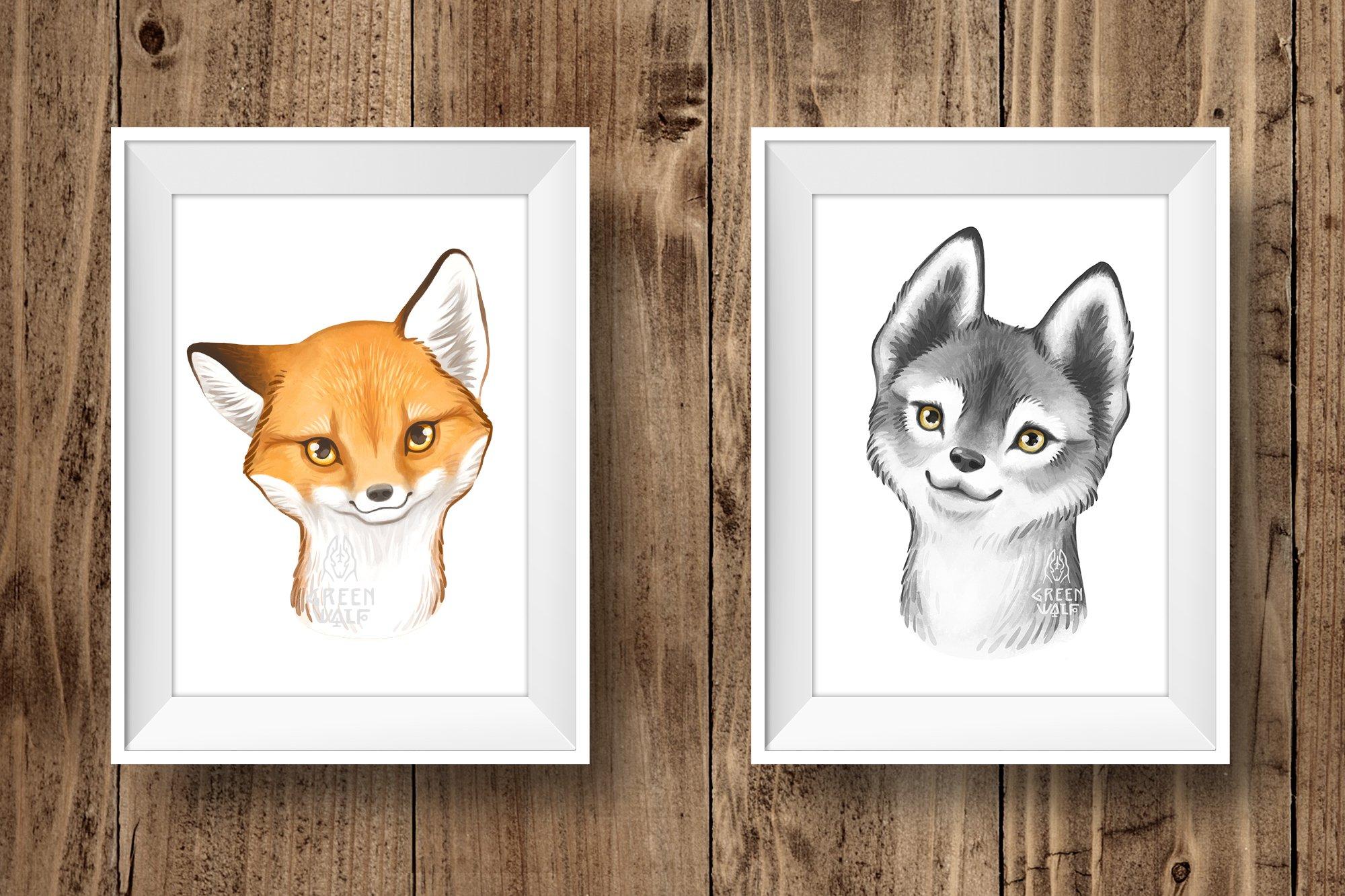 Watercolor woodland animals clipart bundle PNG Nursery decor example image 5