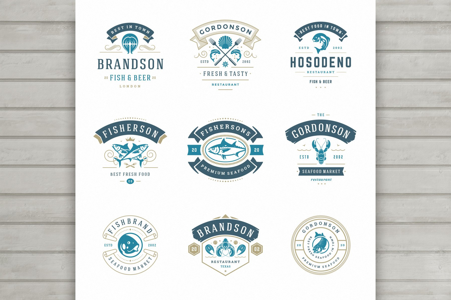 18 Seafood Logos & Badges example image 3