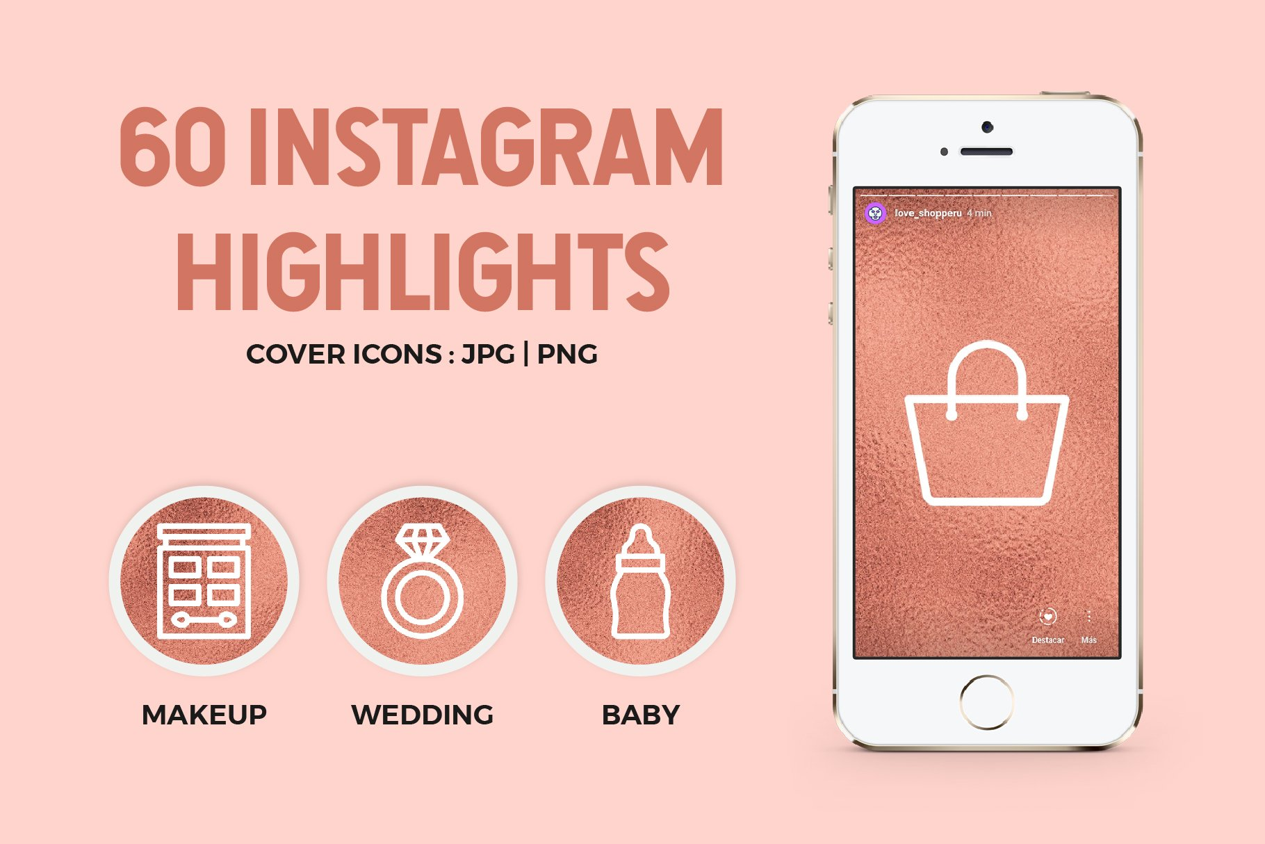 293 Rose Gold Glitter Social Media Icons branding kits and Instagram templates diy branding RGGB G25 Perfect for web design