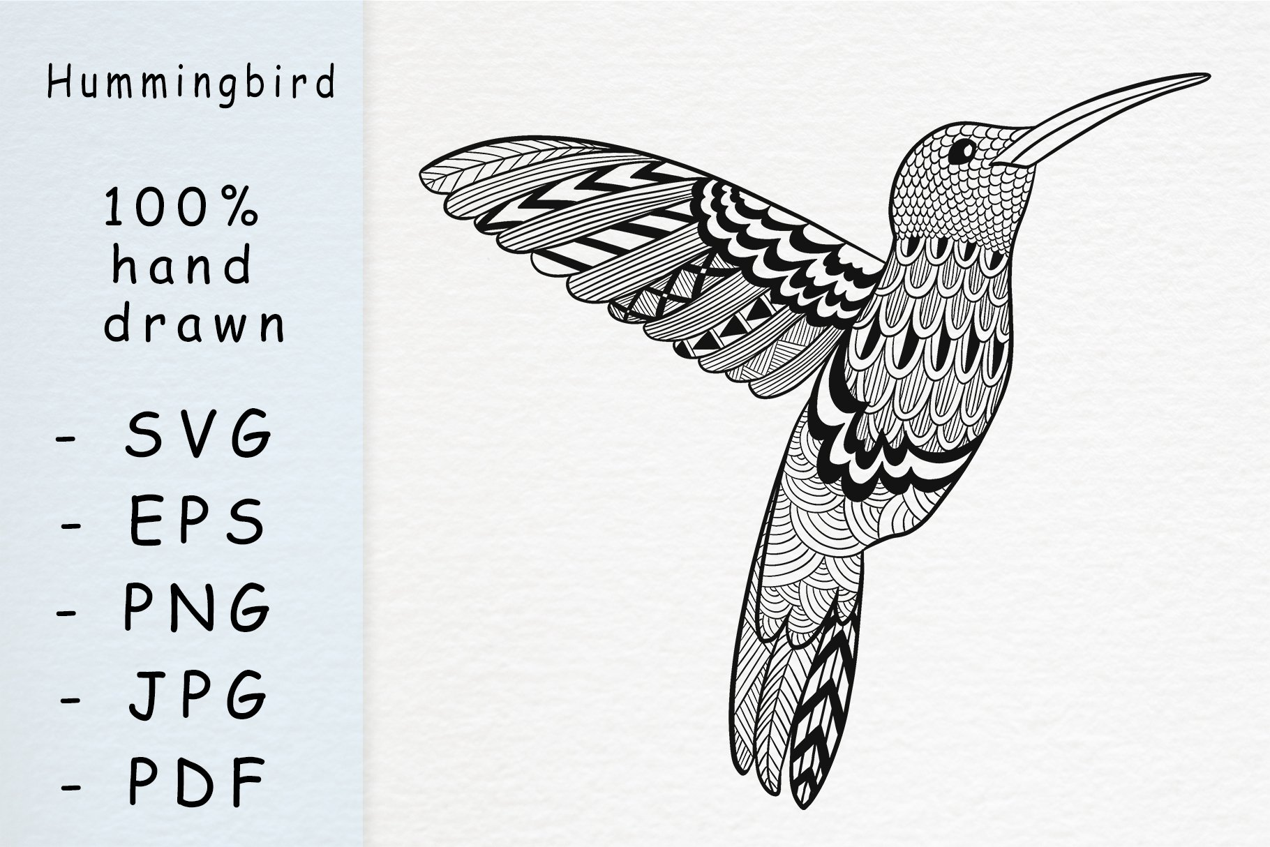 Hand drawn colibri with patterns example image 1