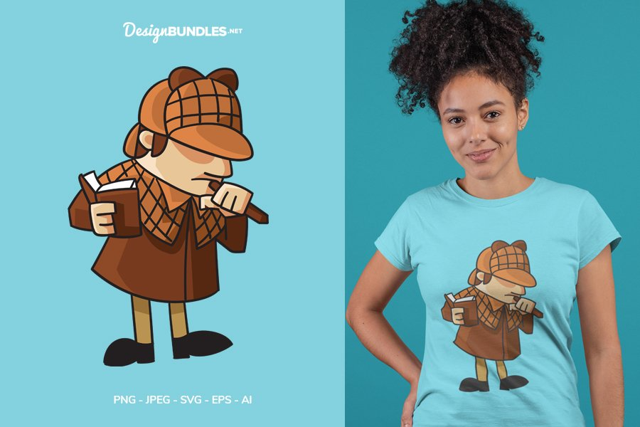 Detective Think Hard Vector Illustration For T-Shirt Design example image 1
