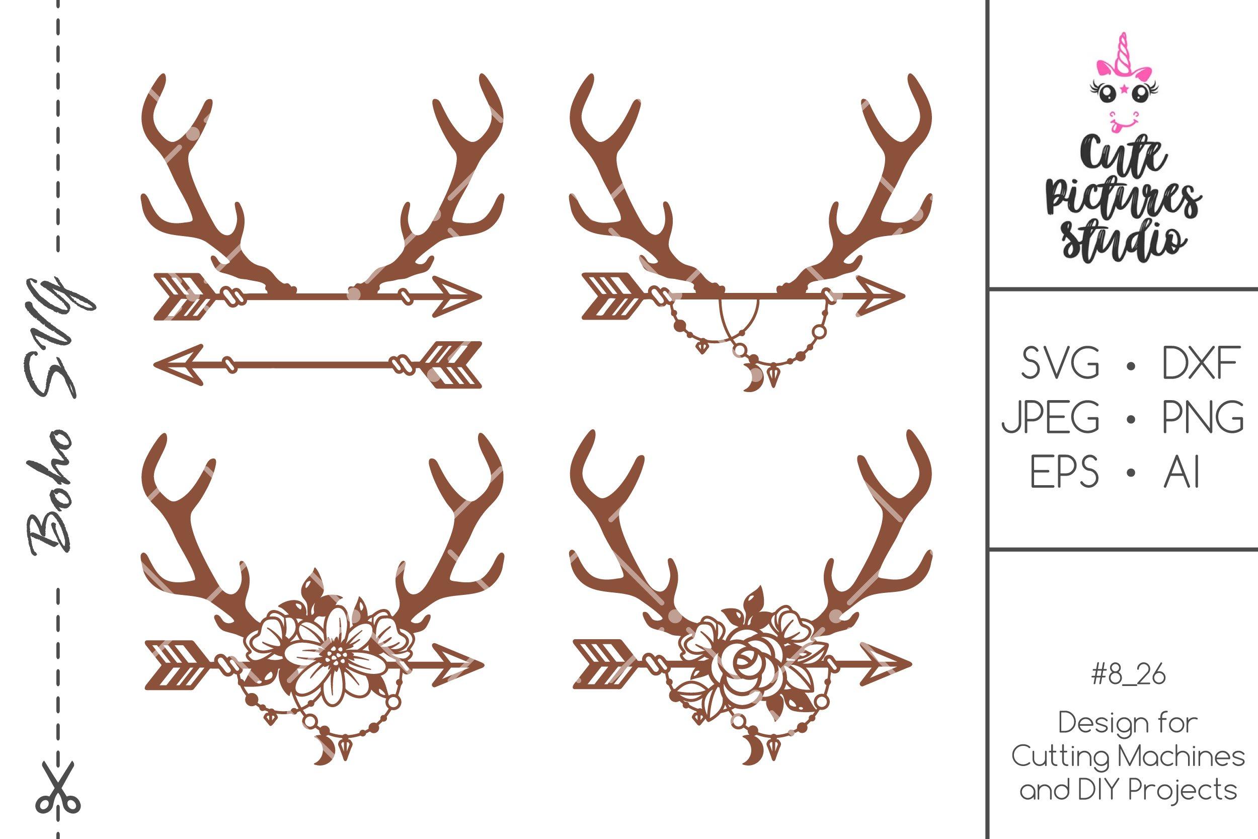 Set Floral Deer Antlers Svg Cut File Floral Deer Antlers 478013 Svgs Design Bundles