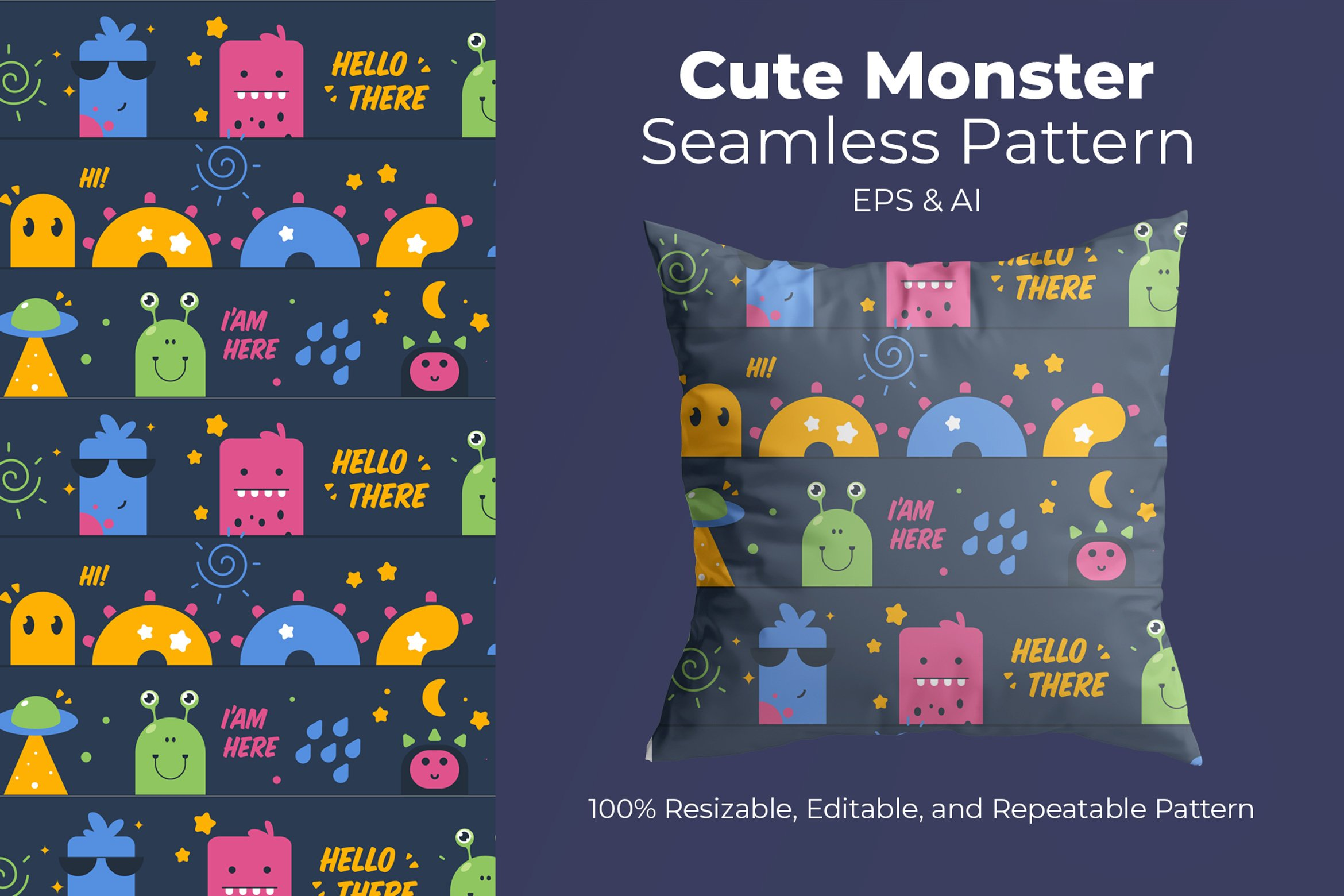 Playful Monster - Seamless Pattern example image 1
